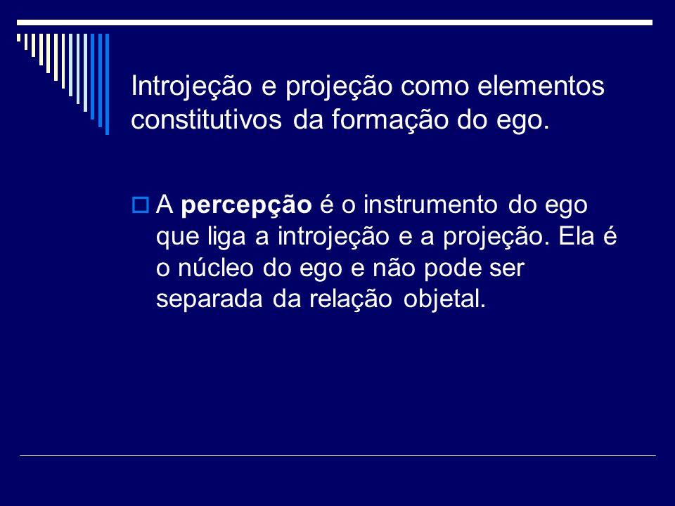 Introjeção e projeção como elementos constitutivos da formação do ego. A percepção é o instrumento do ego que liga a introjeção e a projeção. Ela é o