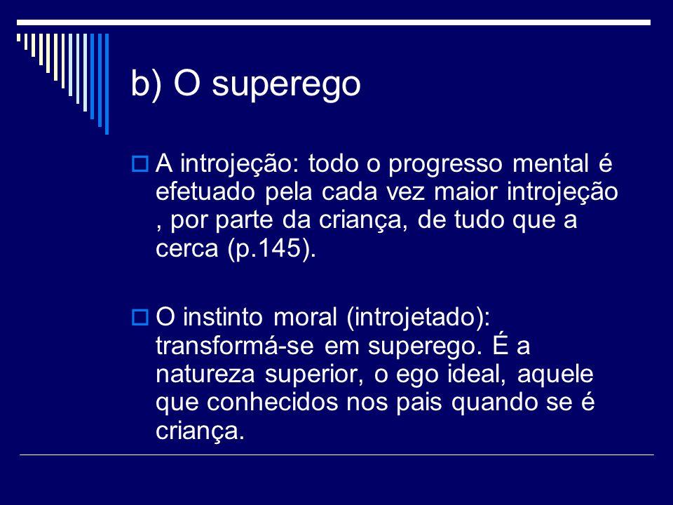b) O superego A introjeção: todo o progresso mental é efetuado pela cada vez maior introjeção, por parte da criança, de tudo que a cerca (p.145). O in