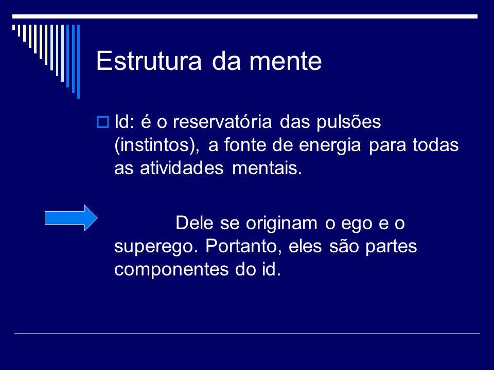 Estrutura da mente Id: é o reservatória das pulsões (instintos), a fonte de energia para todas as atividades mentais. Dele se originam o ego e o super