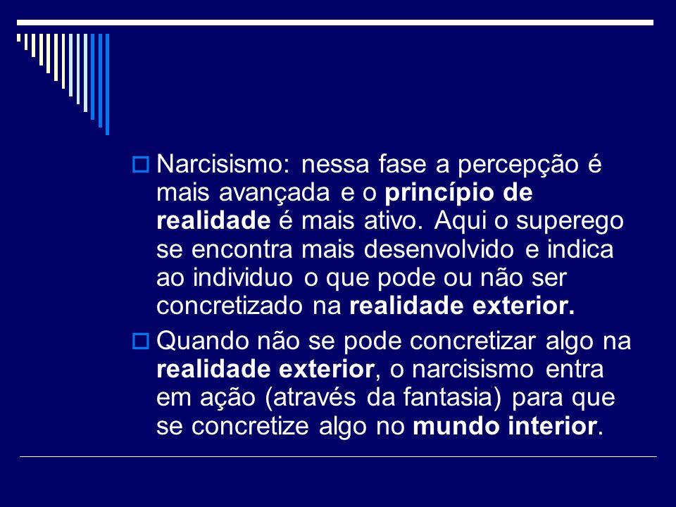 Narcisismo: nessa fase a percepção é mais avançada e o princípio de realidade é mais ativo. Aqui o superego se encontra mais desenvolvido e indica ao