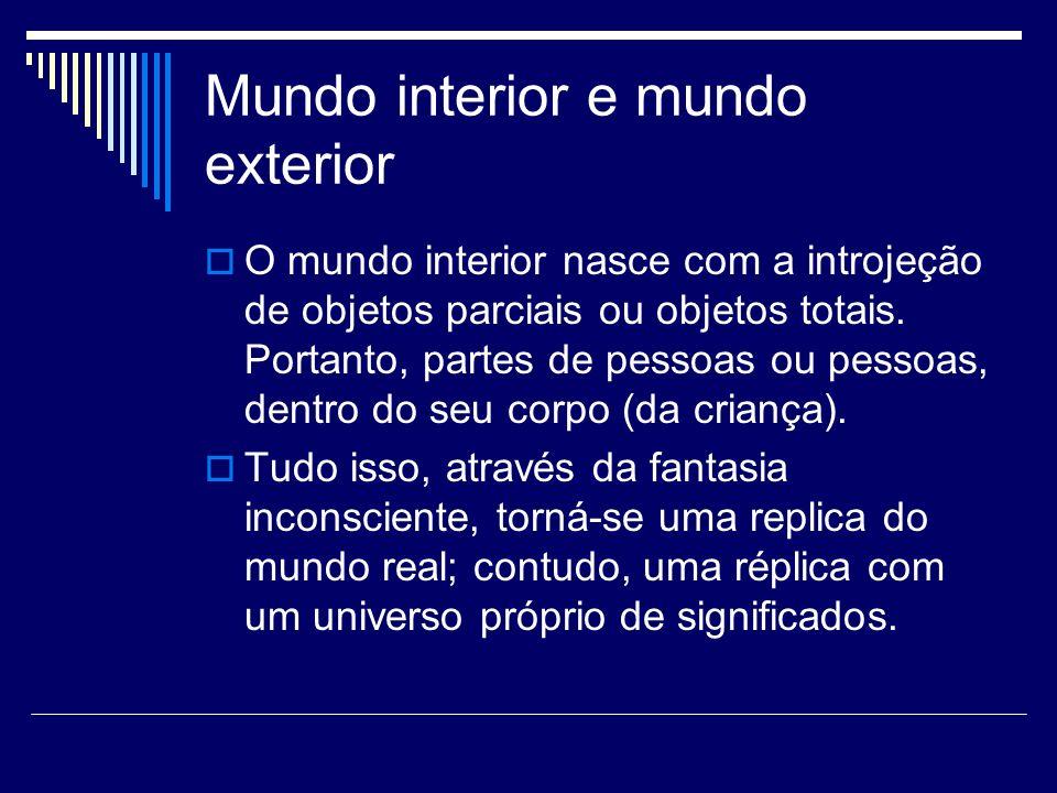 Mundo interior e mundo exterior O mundo interior nasce com a introjeção de objetos parciais ou objetos totais. Portanto, partes de pessoas ou pessoas,