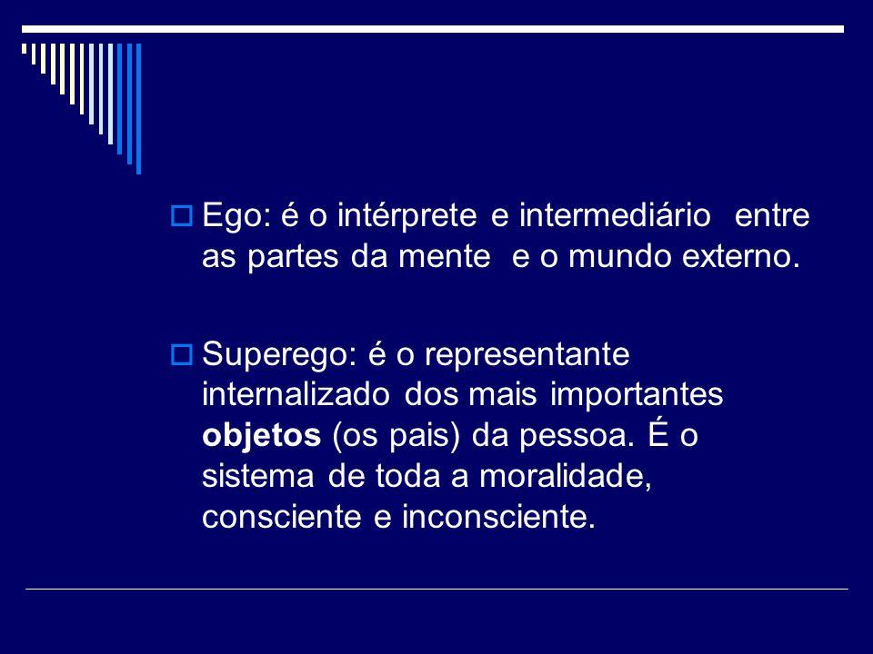 Ego: é o intérprete e intermediário entre as partes da mente e o mundo externo. Superego: é o representante internalizado dos mais importantes objetos
