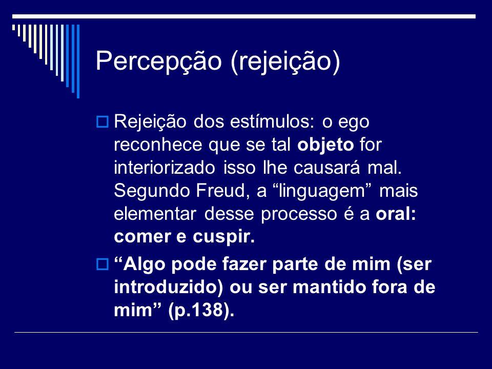 Percepção (rejeição) Rejeição dos estímulos: o ego reconhece que se tal objeto for interiorizado isso lhe causará mal. Segundo Freud, a linguagem mais