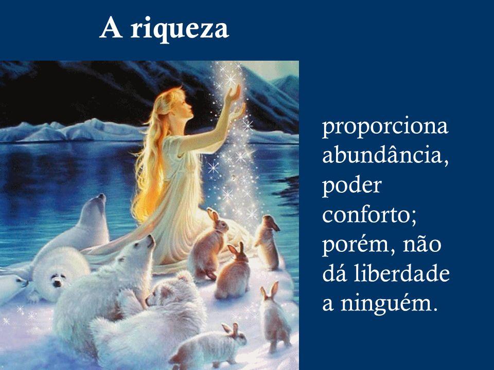 A riqueza proporciona abundância, poder conforto; porém, não dá liberdade a ninguém.