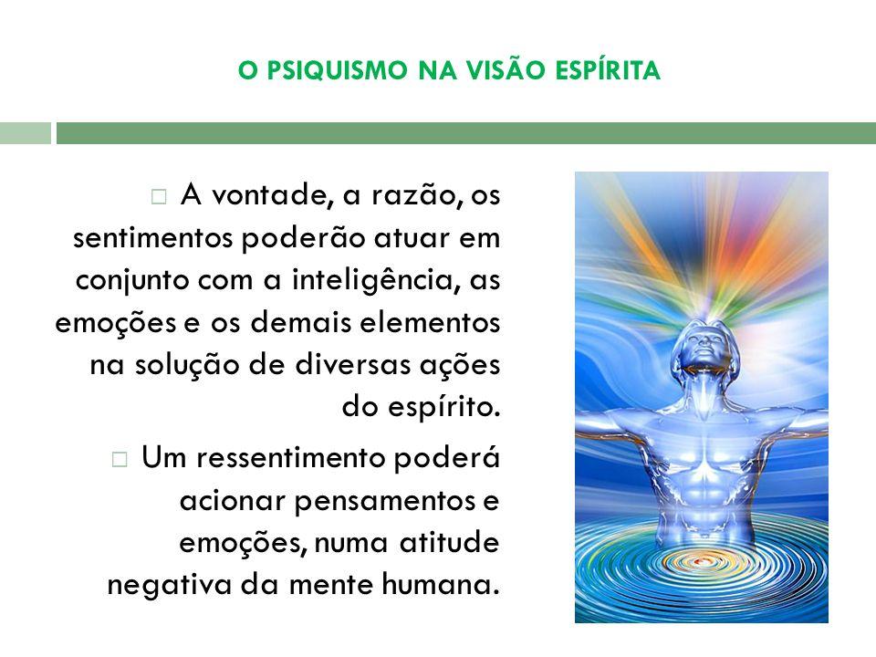 O PSIQUISMO NA VISÃO ESPÍRITA Toda experiência fica registrada e passa a integrar o patrimônio inalienável do espírito. O psiquismo é o produto das di