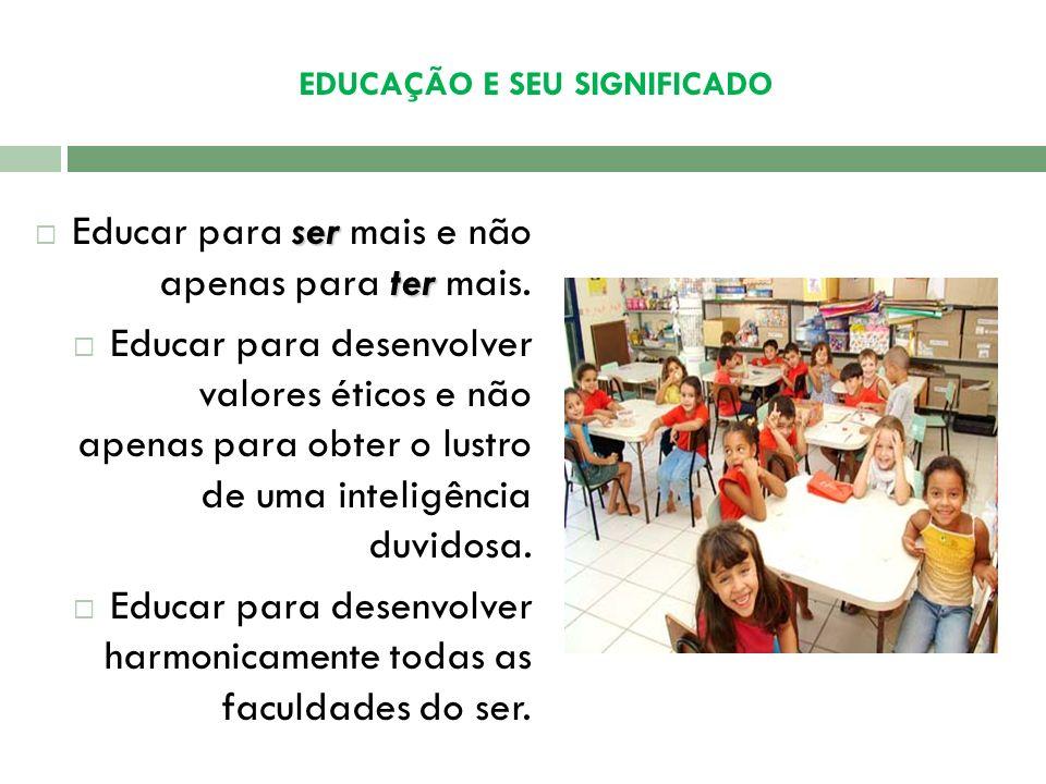 EDUCAÇÃO E SEU SIGNIFICADO Educação – agente capaz de realizar mudanças necessárias e possibilitar a transformação da animalidade em humanidade, dos i