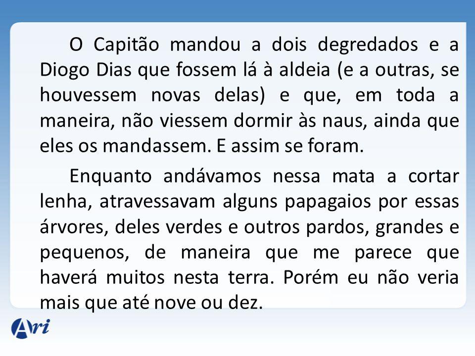 O Capitão mandou a dois degredados e a Diogo Dias que fossem lá à aldeia (e a outras, se houvessem novas delas) e que, em toda a maneira, não viessem