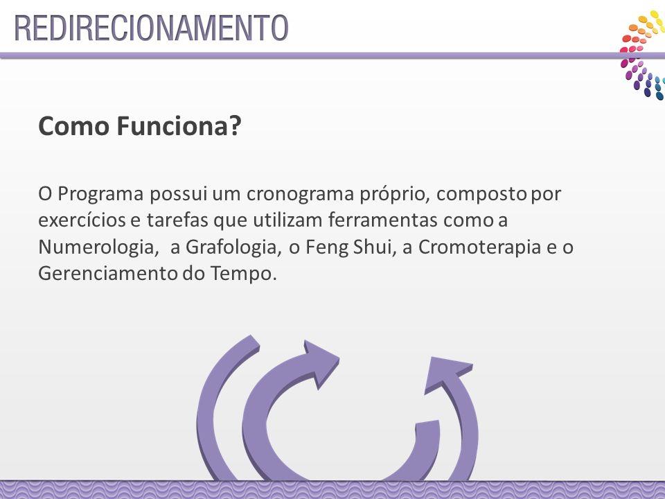 O Programa possui um cronograma próprio, composto por exercícios e tarefas que utilizam ferramentas como a Numerologia, a Grafologia, o Feng Shui, a Cromoterapia e o Gerenciamento do Tempo.