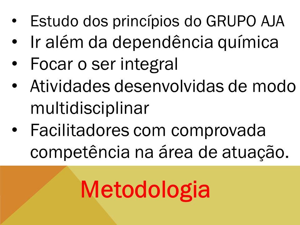 Metodologia Estudo dos princípios do GRUPO AJA Ir além da dependência química Focar o ser integral Atividades desenvolvidas de modo multidisciplinar F