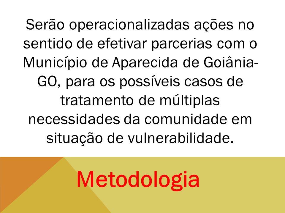 Serão operacionalizadas ações no sentido de efetivar parcerias com o Município de Aparecida de Goiânia- GO, para os possíveis casos de tratamento de m