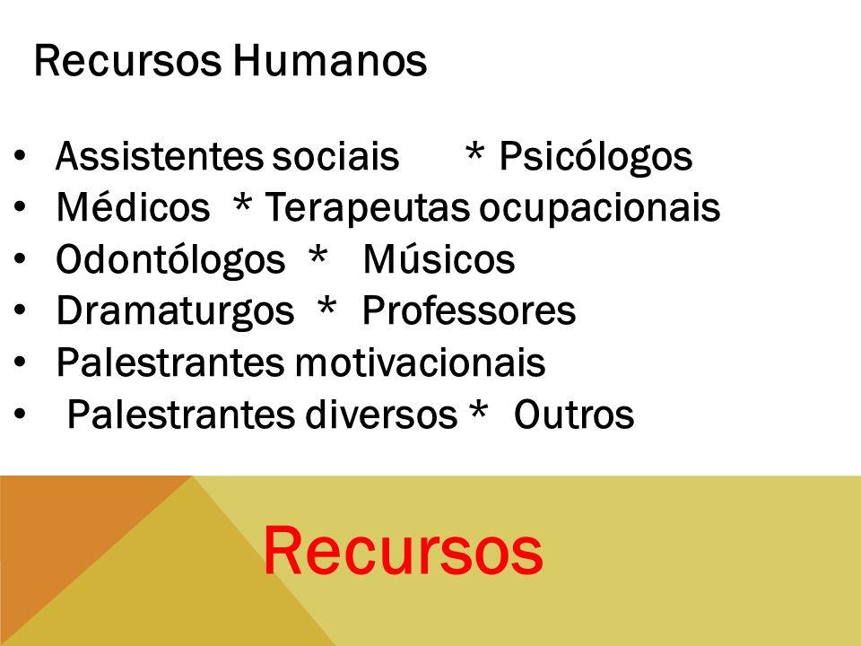 Recursos Recursos Humanos Assistentes sociais * Psicólogos Médicos * Terapeutas ocupacionais Odontólogos * Músicos Dramaturgos * Professores Palestran