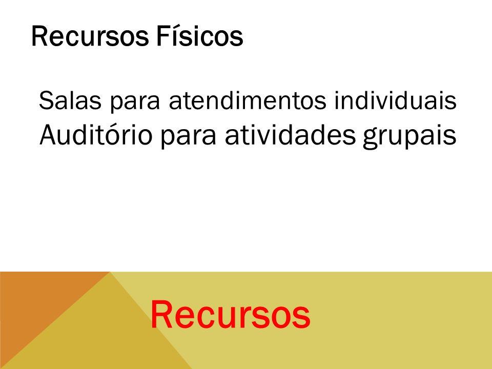 Recursos Recursos Físicos Salas para atendimentos individuais Auditório para atividades grupais