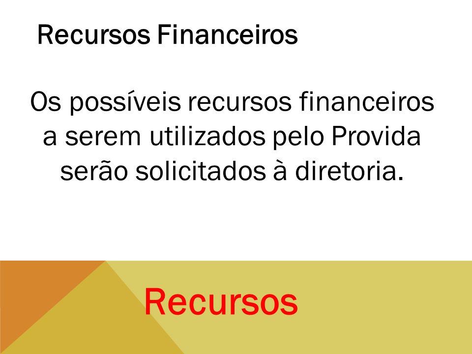 Recursos Recursos Financeiros Os possíveis recursos financeiros a serem utilizados pelo Provida serão solicitados à diretoria.