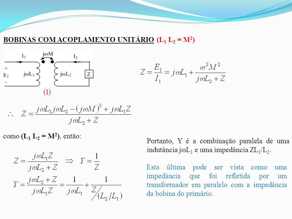 BOBINAS COM ACOPLAMENTO UNITÁRIO (L 1 L 2 = M 2 ) (I) como (L 1 L 2 = M 2 ), então: Portanto, Y é a combinação paralela de uma indutância jωL 1 e uma impedância ZL 1 /L 2.