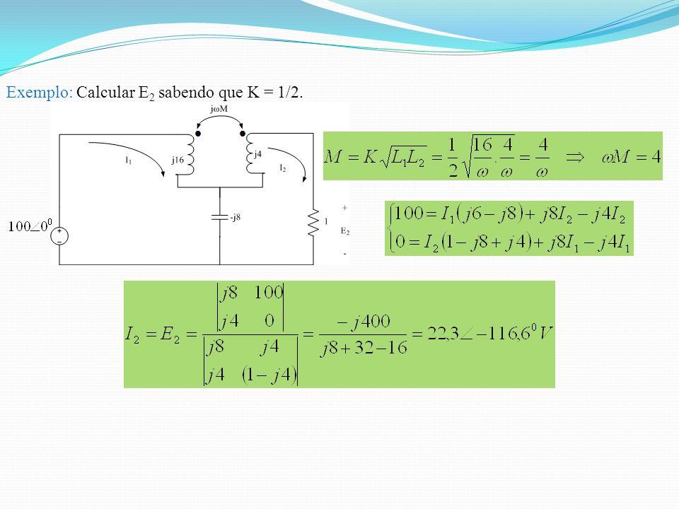 Exemplo: Calcular E 2 sabendo que K = 1/2.