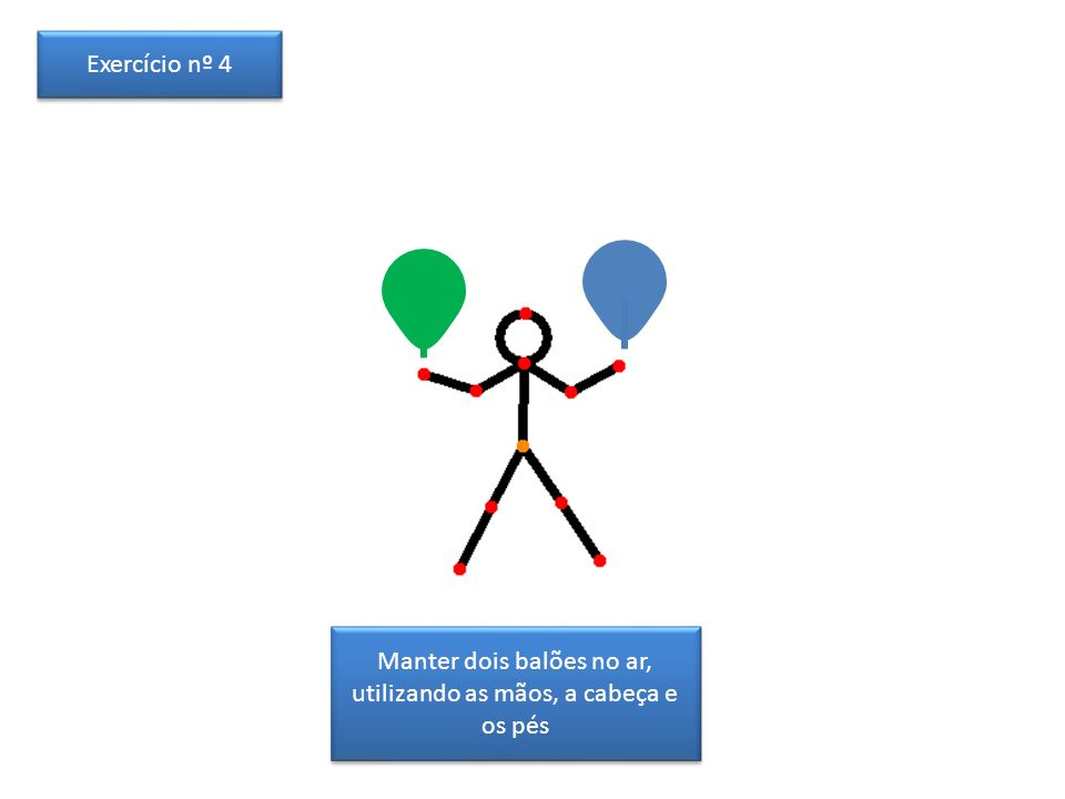 Manter dois balões no ar, utilizando as mãos, a cabeça e os pés Exercício nº 4