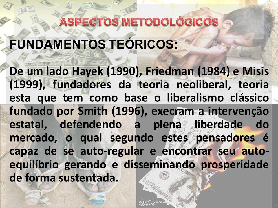 FUNDAMENTOS TEÓRICOS: De um lado Hayek (1990), Friedman (1984) e Misis (1999), fundadores da teoria neoliberal, teoria esta que tem como base o libera
