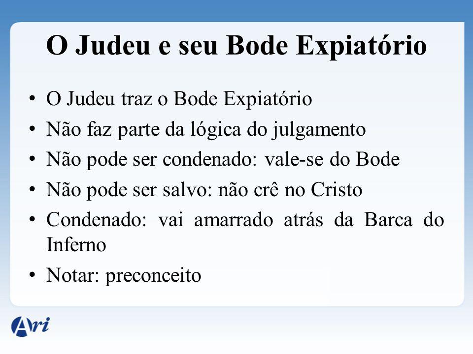 O Judeu e seu Bode Expiatório O Judeu traz o Bode Expiatório Não faz parte da lógica do julgamento Não pode ser condenado: vale-se do Bode Não pode se