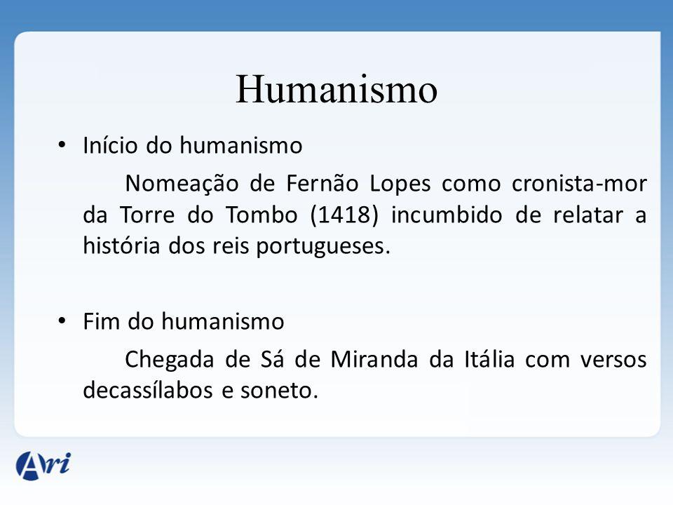 Início do humanismo Nomeação de Fernão Lopes como cronista-mor da Torre do Tombo (1418) incumbido de relatar a história dos reis portugueses. Fim do h