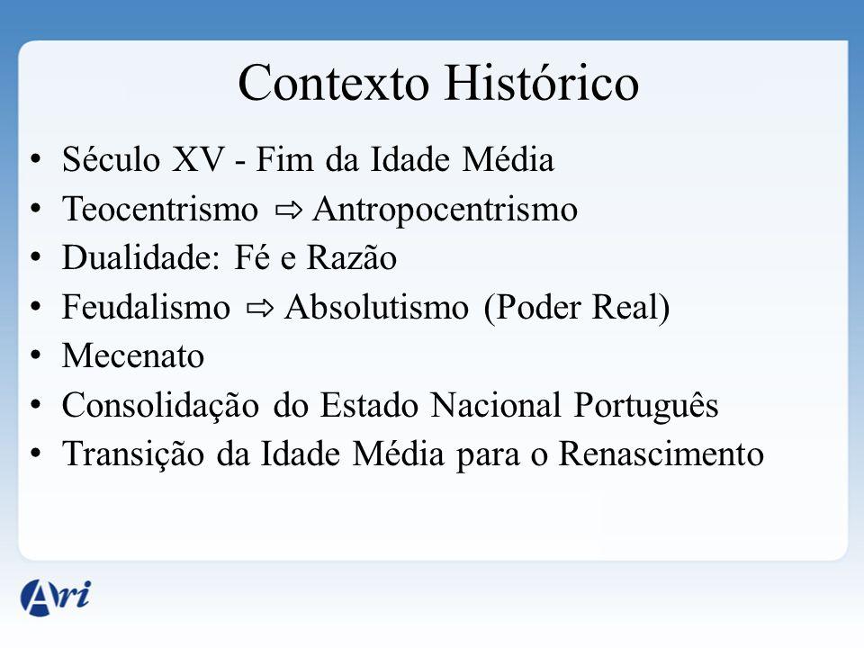Século XV - Fim da Idade Média Teocentrismo Antropocentrismo Dualidade: Fé e Razão Feudalismo Absolutismo (Poder Real) Mecenato Consolidação do Estado