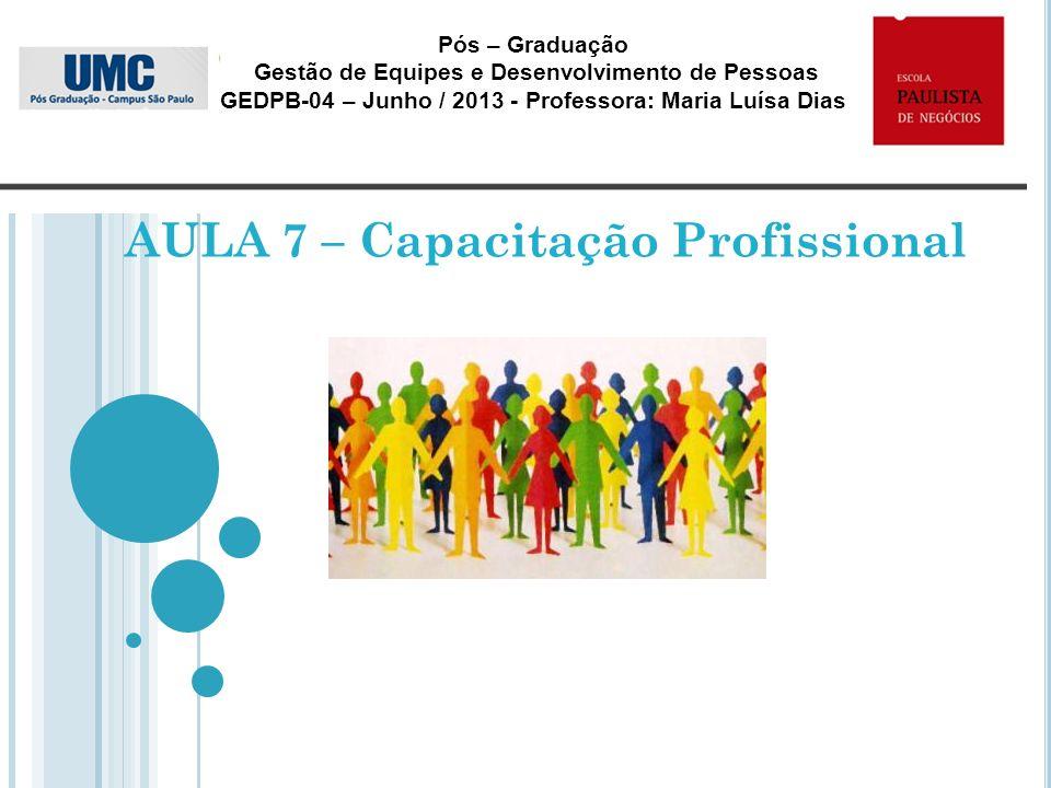 AULA 7 – Capacitação Profissional Pós – Graduação Gestão de Equipes e Desenvolvimento de Pessoas GEDPB-04 – Junho / 2013 - Professora: Maria Luísa Dia