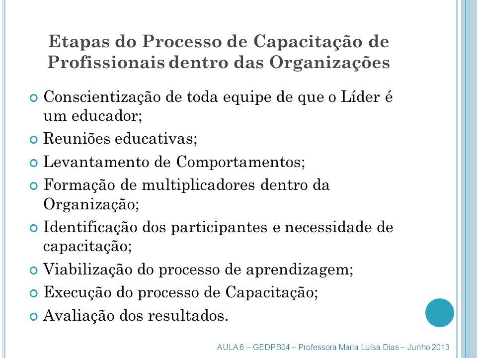 Etapas do Processo de Capacitação de Profissionais dentro das Organizações Conscientização de toda equipe de que o Líder é um educador; Reuniões educa