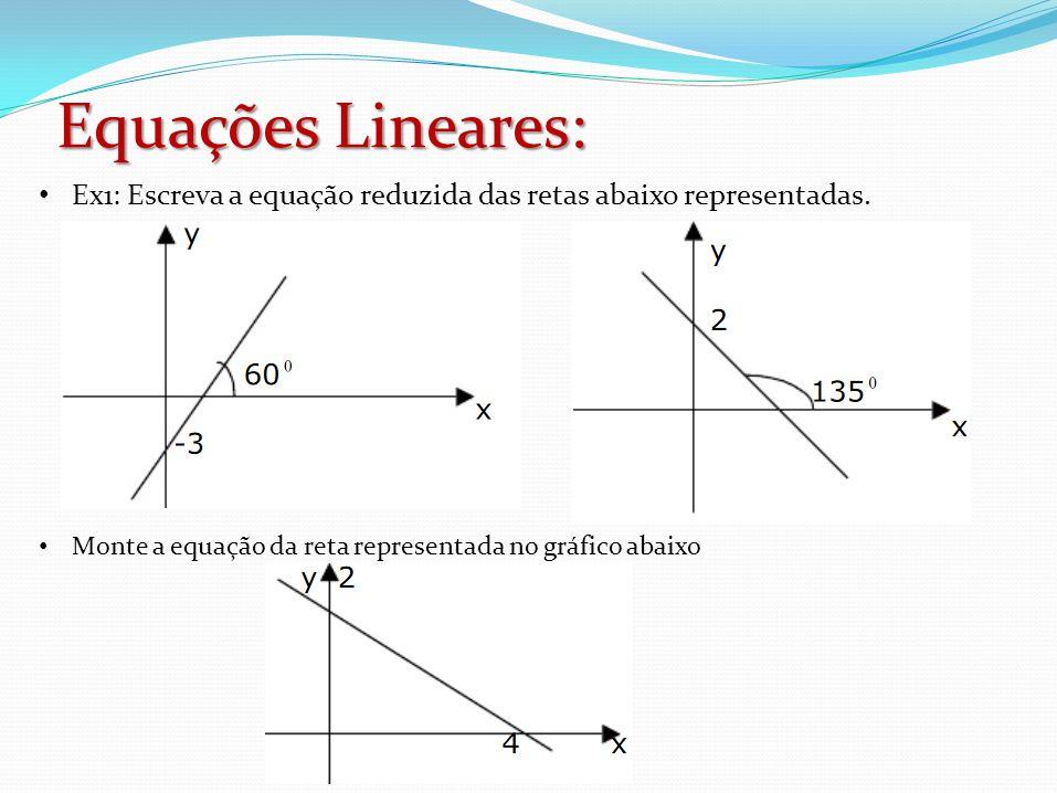 Ex1: Escreva a equação reduzida das retas abaixo representadas. Monte a equação da reta representada no gráfico abaixo