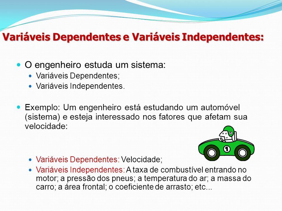 Variáveis Dependentes e Variáveis Independentes: O engenheiro estuda um sistema: Variáveis Dependentes; Variáveis Independentes. Exemplo: Um engenheir
