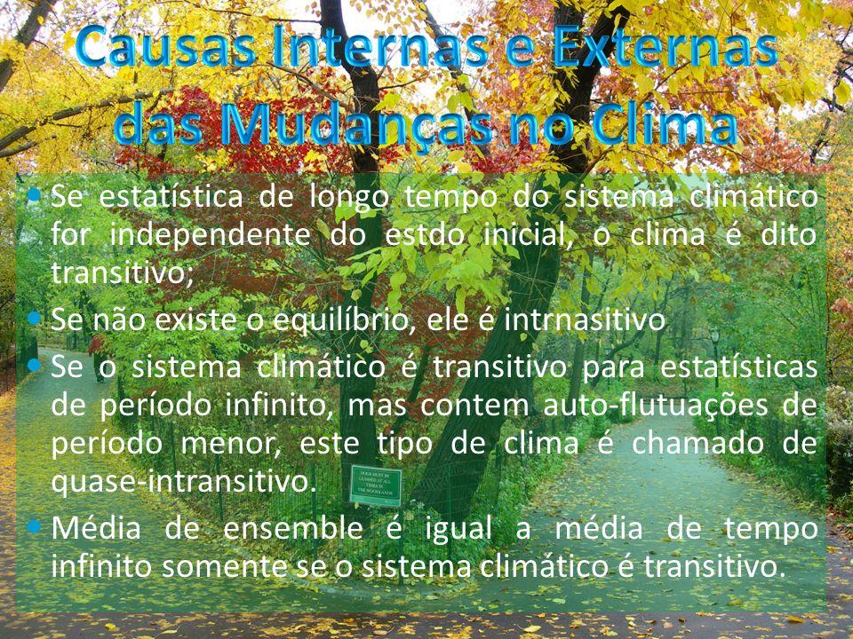 Se estatística de longo tempo do sistema climático for independente do estdo inicial, o clima é dito transitivo; Se não existe o equilíbrio, ele é intrnasitivo Se o sistema climático é transitivo para estatísticas de período infinito, mas contem auto-flutuações de período menor, este tipo de clima é chamado de quase-intransitivo.