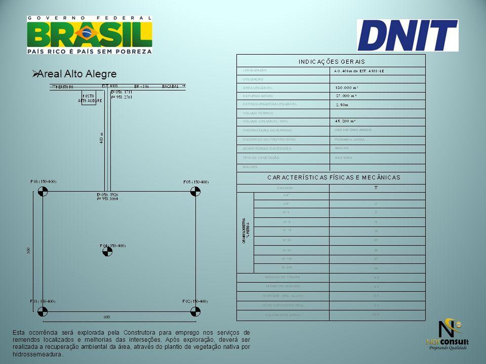 Areal Alto Alegre Esta ocorrência será explorada pela Construtora para emprego nos serviços de remendos localizados e melhorias das interseções. Após