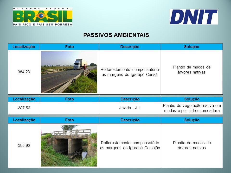 LocalizaçãoFotoDescriçãoSolução 384,23 Reflorestamento compensatório as margens do Igarapé Canaã Plantio de mudas de árvores nativas PASSIVOS AMBIENTA