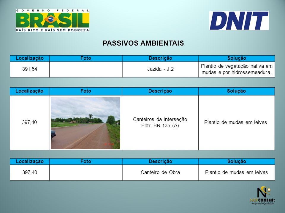 PASSIVOS AMBIENTAIS LocalizaçãoFotoDescriçãoSolução 397,40 Canteiros da Interseção Entr. BR-135 (A) Plantio de mudas em leivas. LocalizaçãoFotoDescriç