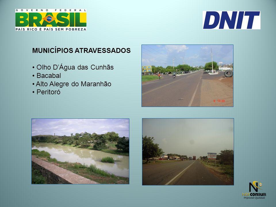 MUNICÍPIOS ATRAVESSADOS Olho DÁgua das Cunhãs Bacabal Alto Alegre do Maranhão Peritoró