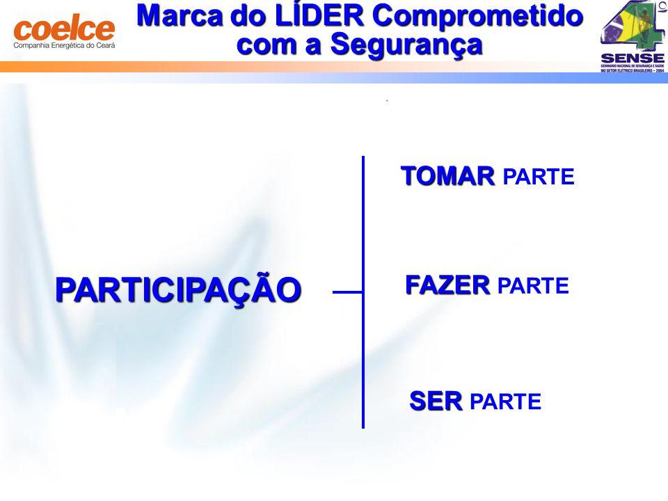 Marca do LÍDER Comprometido com a Segurança PARTICIPAÇÃO SER SER PARTE TOMAR TOMAR PARTE FAZER FAZER PARTE