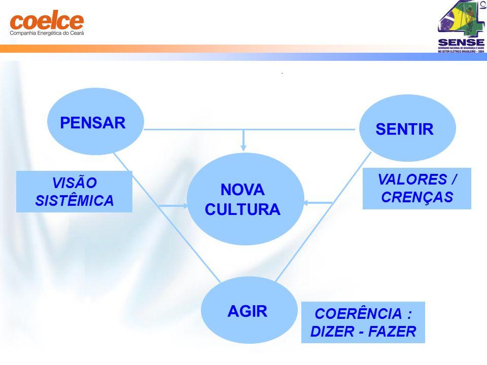 VISÃO SISTÊMICA AGIR VALORES / CRENÇAS PENSAR NOVA CULTURA SENTIR COERÊNCIA : DIZER - FAZER