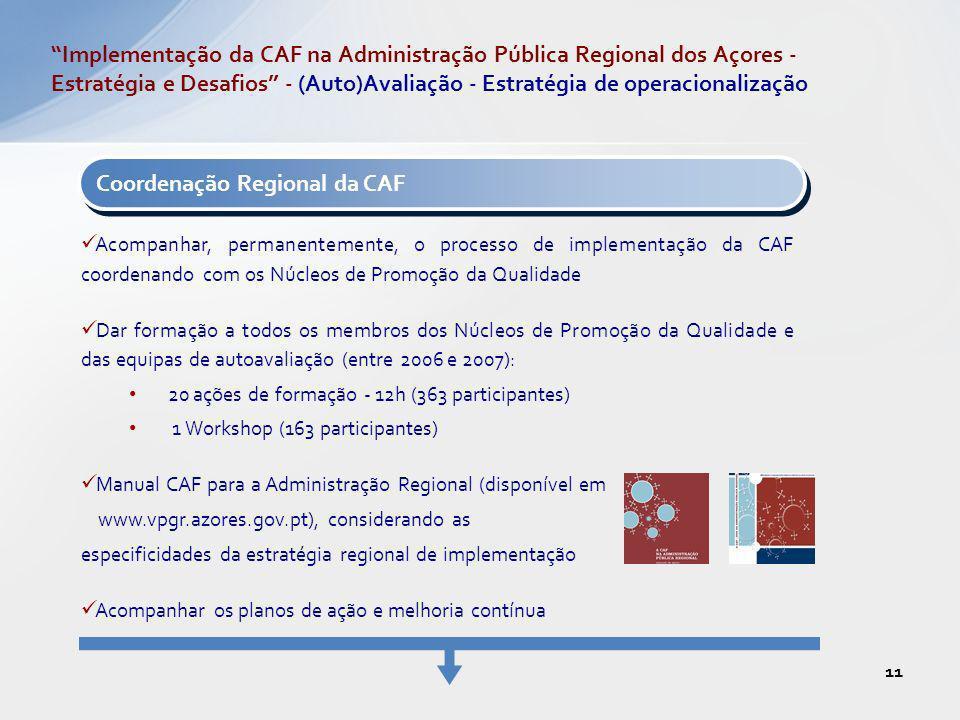 Coordenação Regional da CAF Acompanhar, permanentemente, o processo de implementação da CAF coordenando com os Núcleos de Promoção da Qualidade Dar fo