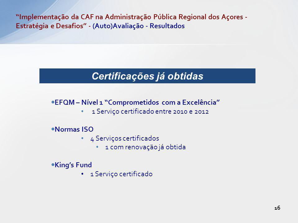EFQM – Nível 1 Comprometidos com a Excelência 1 Serviço certificado entre 2010 e 2012 Normas ISO 4 Serviços certificados 1 com renovação já obtida Kin