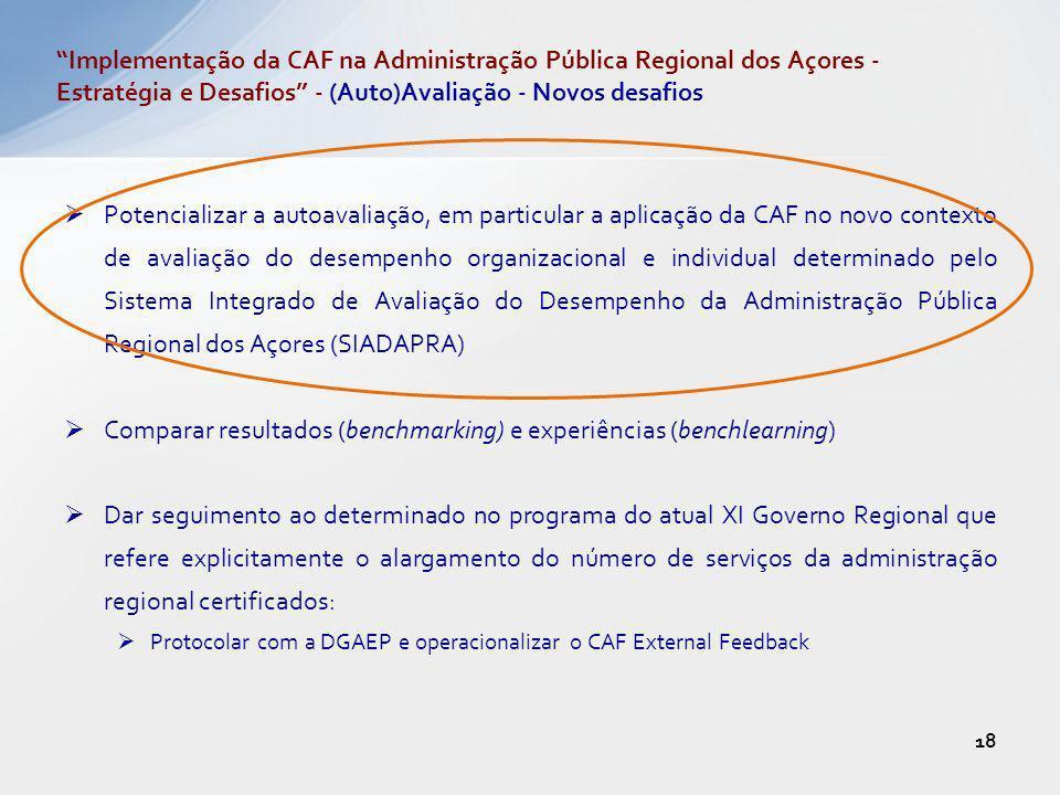 Potencializar a autoavaliação, em particular a aplicação da CAF no novo contexto de avaliação do desempenho organizacional e individual determinado pe