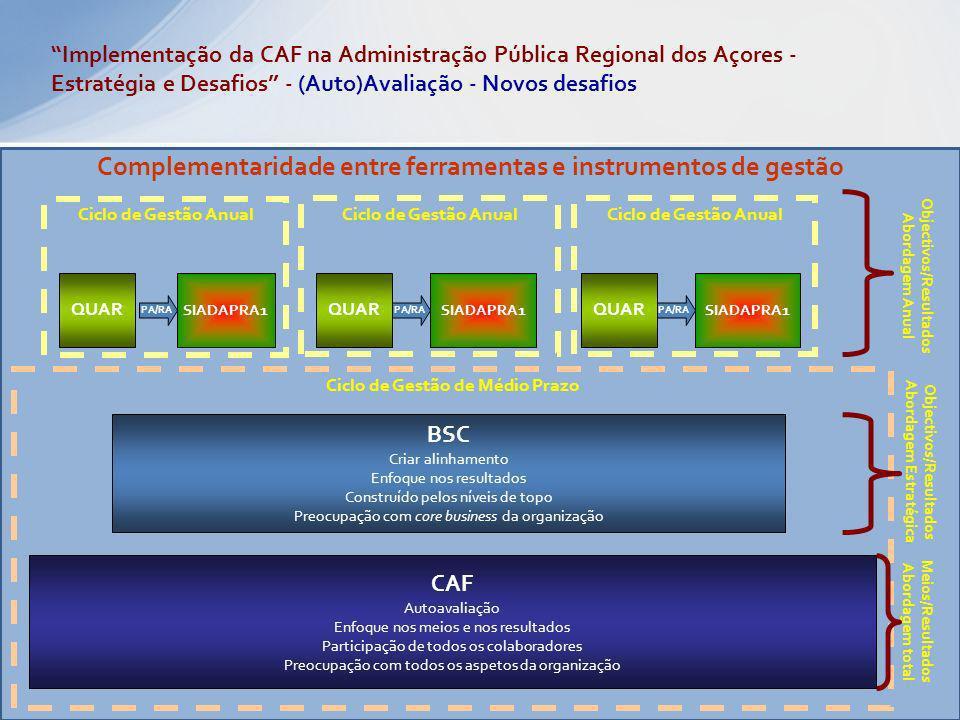 CAF Autoavaliação Enfoque nos meios e nos resultados Participação de todos os colaboradores Preocupação com todos os aspetos da organização BSC Criar