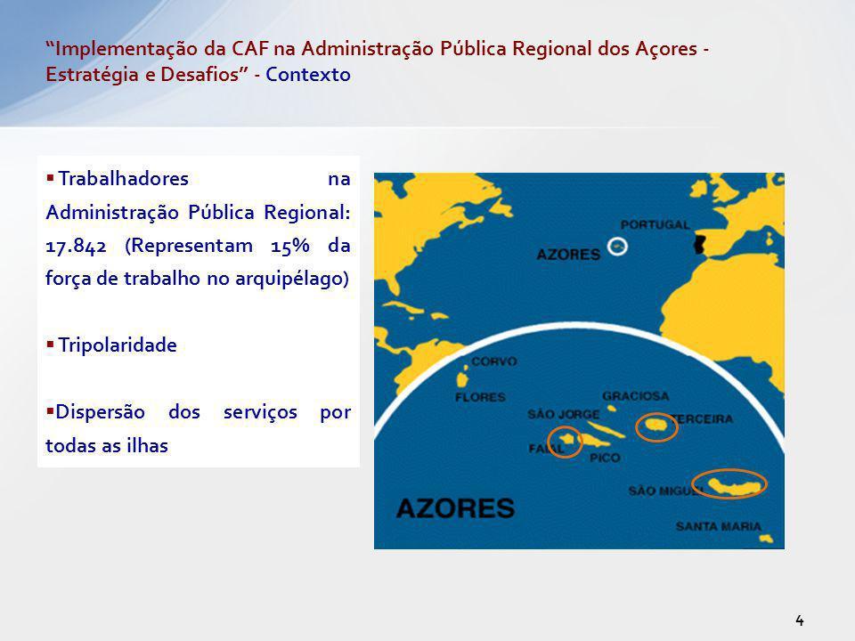 Trabalhadores na Administração Pública Regional: 17.842 (Representam 15% da força de trabalho no arquipélago) Tripolaridade Dispersão dos serviços por