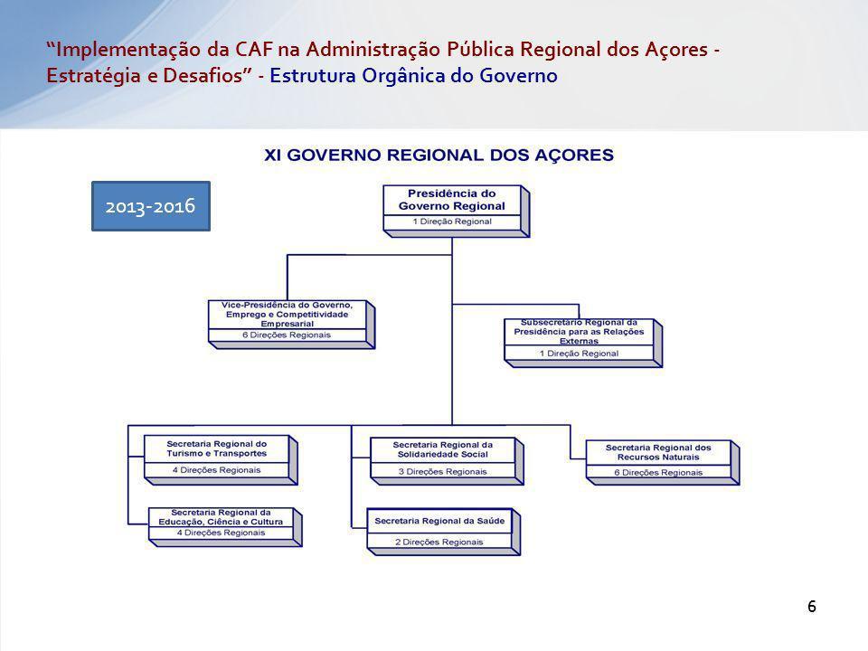 2013-2016 6 Implementação da CAF na Administração Pública Regional dos Açores - Estratégia e Desafios - Estrutura Orgânica do Governo