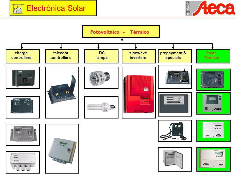 Fotovoltaico - Térmico Fotovoltaico - Térmico charge controllers telecom controllers DC lamps sinewave inverters prepayment & specials Solar Térmico Electrónica Solar