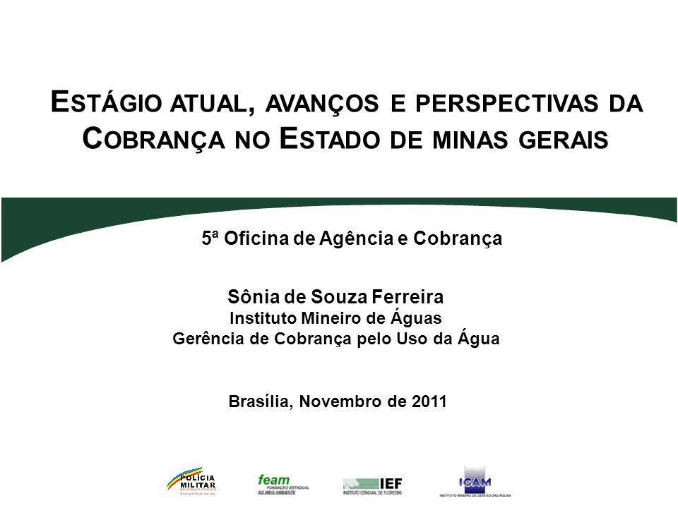 Sônia de Souza Ferreira Instituto Mineiro de Águas Gerência de Cobrança pelo Uso da Água E STÁGIO ATUAL, AVANÇOS E PERSPECTIVAS DA C OBRANÇA NO E STAD