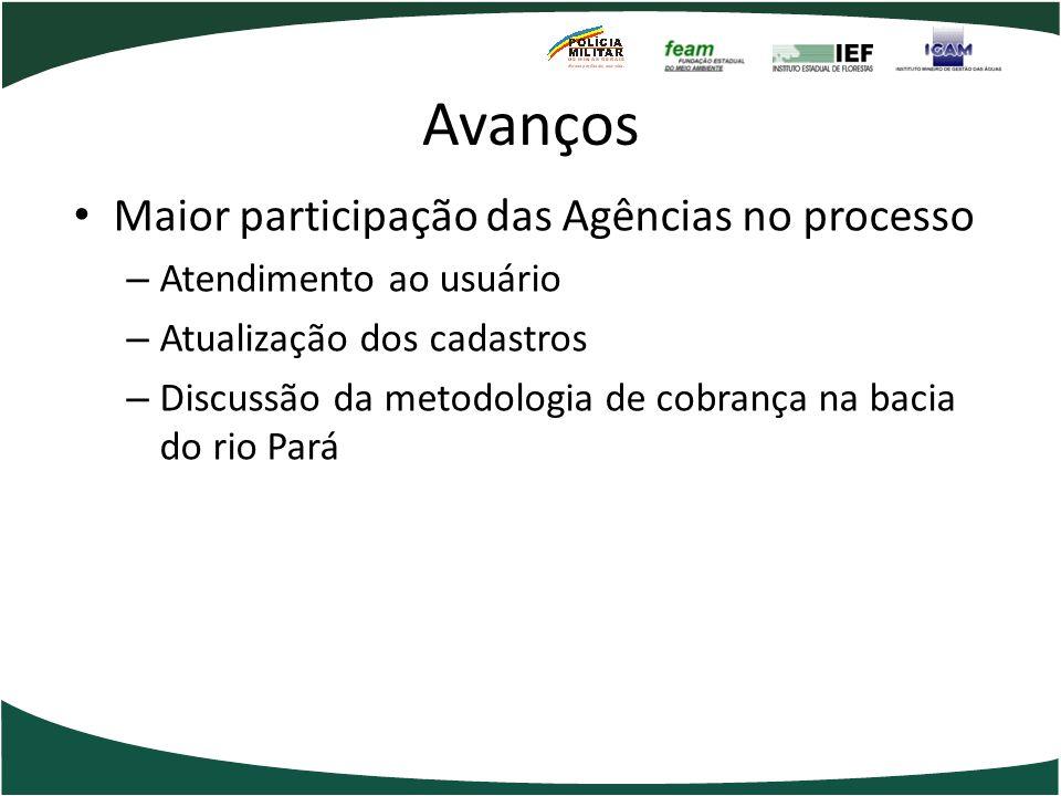 Avanços Maior participação das Agências no processo – Atendimento ao usuário – Atualização dos cadastros – Discussão da metodologia de cobrança na bac