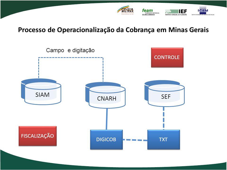 Processo de Operacionalização da Cobrança em Minas Gerais CNARH SIAM SEF DIGICOB TXT Campo e digitação CONTROLE FISCALIZAÇÃO