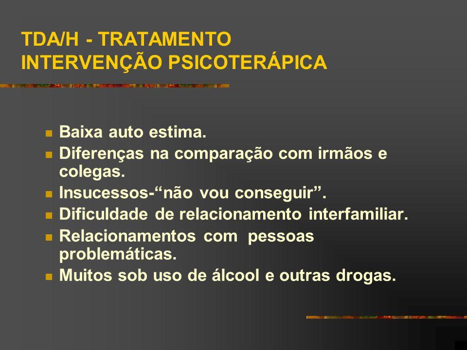 TDA/H - TRATAMENTO INTERVENÇÃO PSICOTERÁPICA Baixa auto estima.