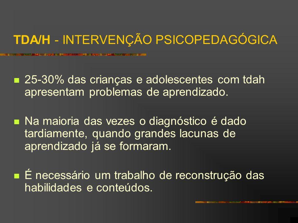 TDA/H - INTERVENÇÃO PSICOPEDAGÓGICA 25-30% das crianças e adolescentes com tdah apresentam problemas de aprendizado. Na maioria das vezes o diagnóstic