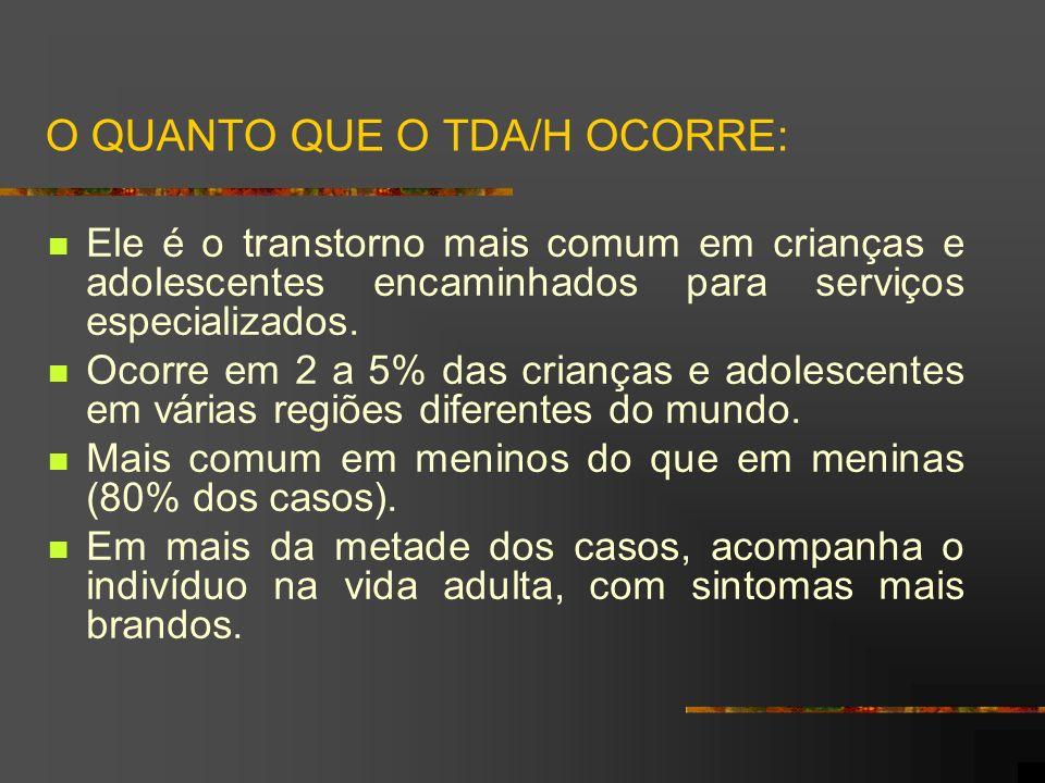 TDA/H - COM PREDOMÍNIO DE SINTOMAS DE DESATENÇÃO (2) É mais comum entre meninas.