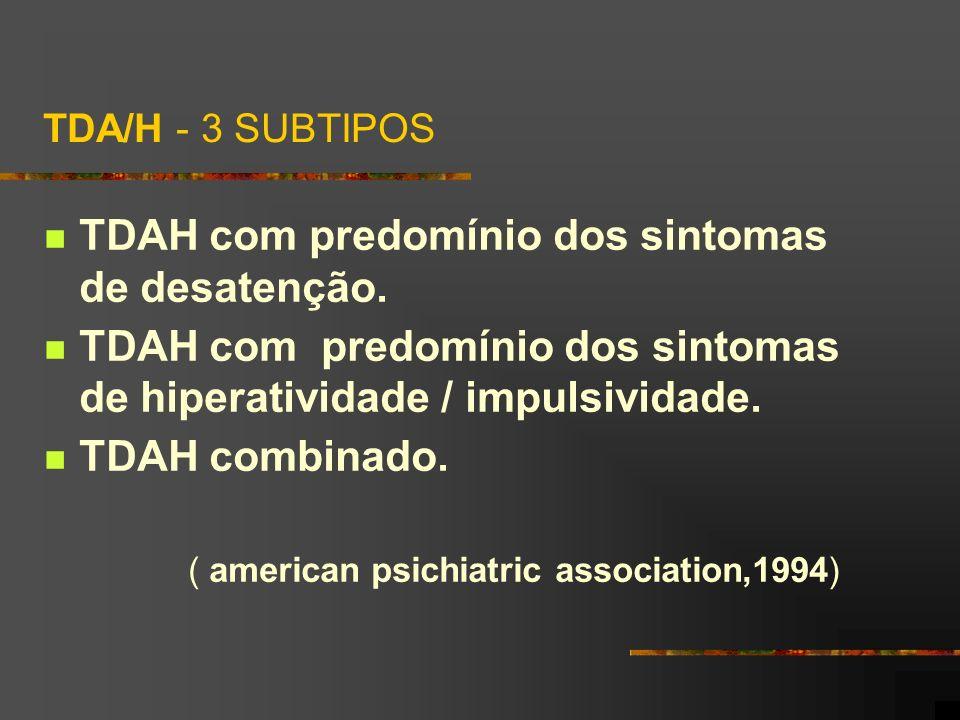 TDA/H - 3 SUBTIPOS TDAH com predomínio dos sintomas de desatenção. TDAH com predomínio dos sintomas de hiperatividade / impulsividade. TDAH combinado.