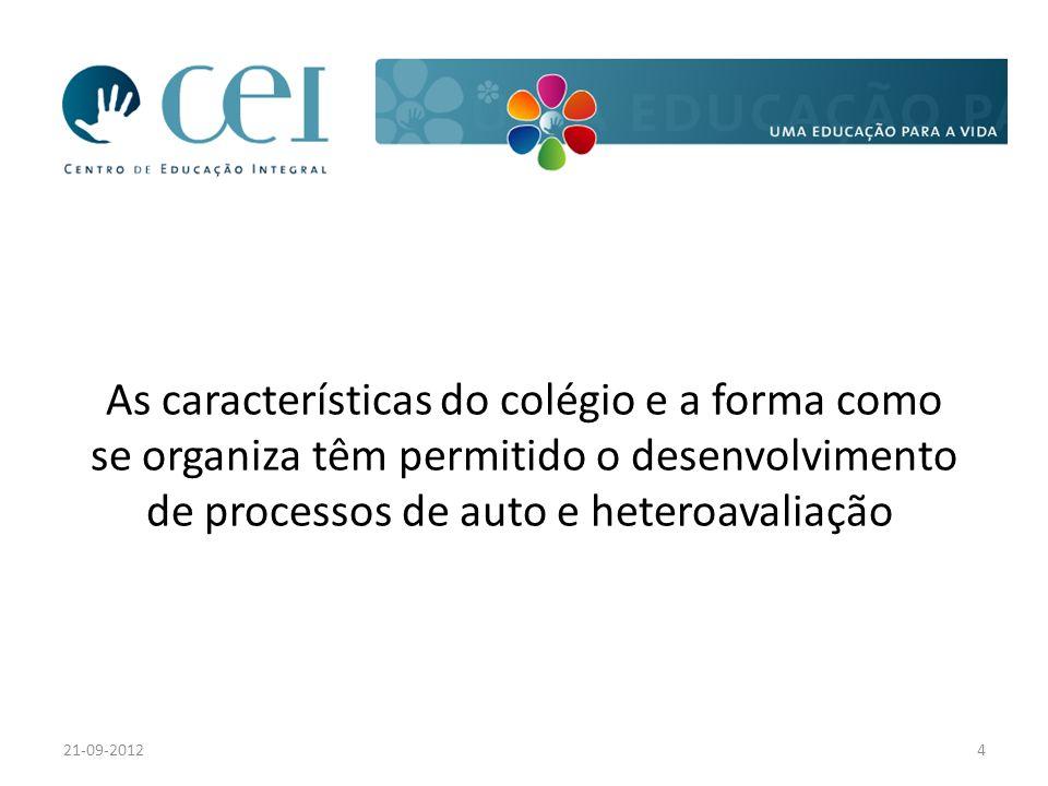 As características do colégio e a forma como se organiza têm permitido o desenvolvimento de processos de auto e heteroavaliação 21-09-20124